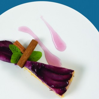 WINE-POACHED PEAR TART
